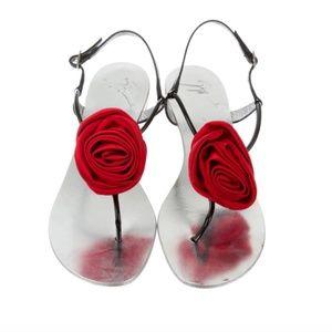 GIUSEPPE ZANOTTI  Rosette-Embellished Sandals